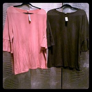 Lot of 2 NWT Charcoal Grey & Pink Flute Sleeve Top